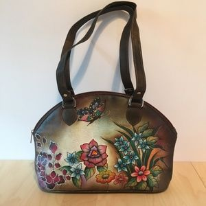 Biacci hand-painted leather purse, brown butterfly